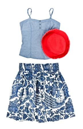 탱크 탑: Womans Tank Top, Floral Skirt and Cotton Red Hat 스톡 사진