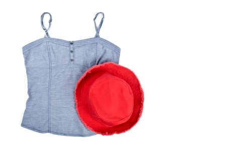 탱크 탑: Womans Tank Top and Cotton Red Hat 스톡 사진