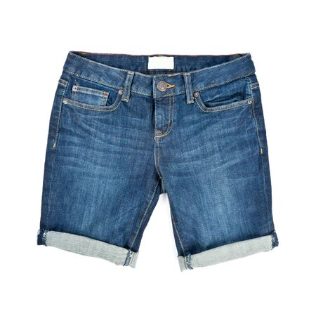 Womans Denim Shorts Isolated on White