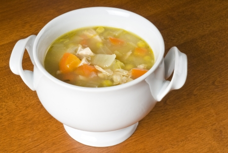 Homemade Chicken Soup with Vegetables in a Bowl Stock Photo - 9733765
