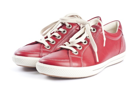 Red Leather Sports Shoes Isolated on White Banco de Imagens - 9733226