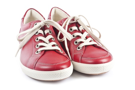 Red Leather Sports Shoes Isolated on White Banco de Imagens - 9733418