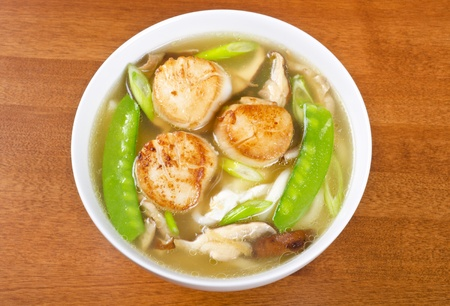 noodle soup: Noodle Soup with Pan Seared Scallops and Vegetables Stock Photo