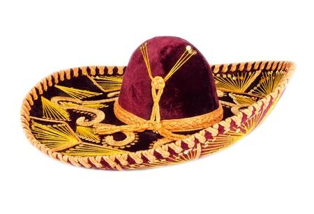 Sombrero mexicano aislado en blanco Foto de archivo