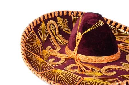 Sombrero Mexicano aislado en blanco