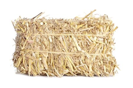 bundle: Small Bale of Hay Isolated on White