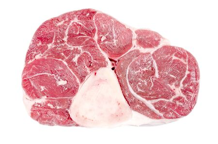 Raw Beef Shank with Bone Isolated on White