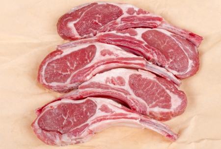 Raw Lamb Chops Stock Photo