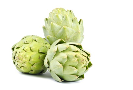 Artichokes Isolated on White Banco de Imagens