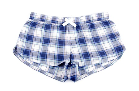 flannel: Flannel Pajama Shorts Isolated on White