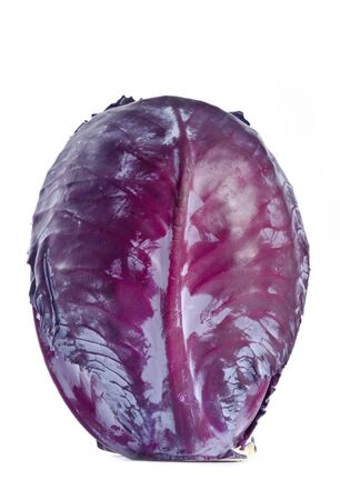 Head of Red Cabbage Isolated on White Banco de Imagens