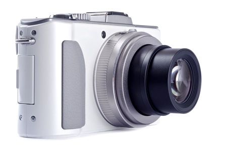 Point and Shoot Digital Camera Isolated on White 免版税图像