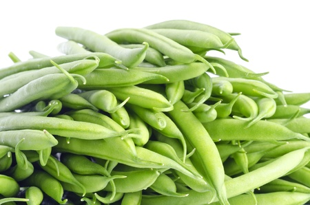 green bean: French Green Beans Isolated on White