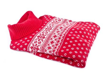 Rode Wol vrouw Trui Geà ¯ soleerd op wit Stockfoto