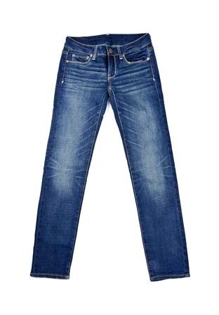denim: Jeans azul aislado en blanco Foto de archivo