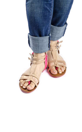 capri pants: Women Wearing Summer Sandals Isolated on White