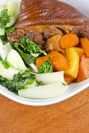 Stewed Ham Hocks Served with Vegetable
