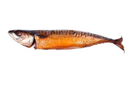 Hot Smoked Mackerel Fish Isolated on White Stok Fotoğraf