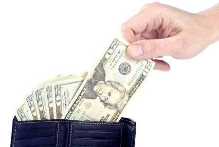 20 s: Hand Pulling a  US 20 Dollar Bill from a Black Leather Wallet Stock Photo