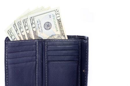 US 20 Dollar Bills in a Black Leather Wallet Banco de Imagens