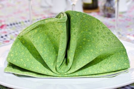 plating: Folded Green Cloth Napkin