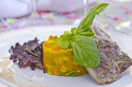 Lamb Chop with Vegetables Stock Photo - 13328408