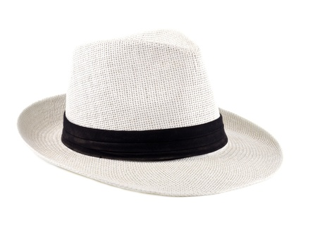 White Straw Cuban Hat Isolated