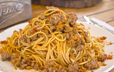 plateful: Plateful of Spaghetti with Bolognese Sauce Stock Photo