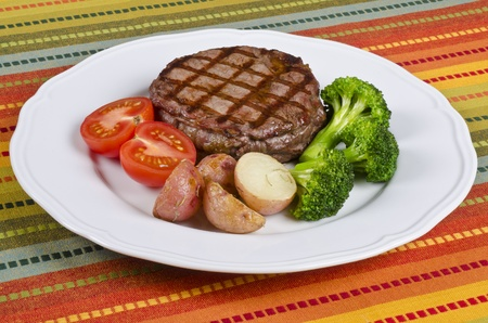 Beef Rib Eye Steak Served with Vegetables photo