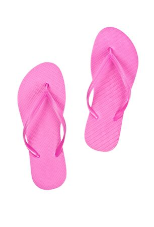flops: Pink Flip Flops Isolated on White Stock Photo