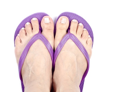 flops: Bare Feet and Purple Flip Flops