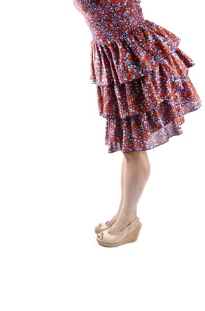 Woman Wearing Plateau Sandalen und so Floral Kleid photo