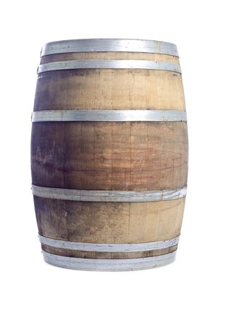 Oak Wine Barrel Isolated on White Stock Photo - 14398185