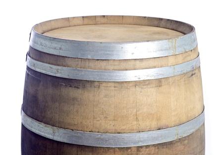 Top van een Eiken Wijnvat Geà ¯ soleerd op wit Stockfoto - 14398190