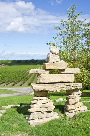 inuit: An Inuit Inukshuk Standing in a Vineyard