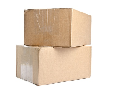 Two Cardboard Boxes Stacked and Isolated on White