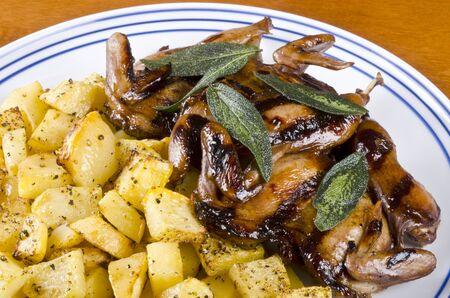rutabaga: Barbecued Quails Served with Roasted Rutabaga and Crispy Sage Leaves