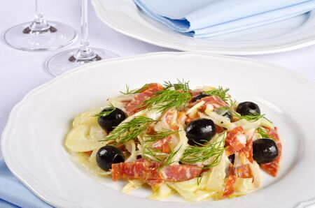 Fennel and Salami Salad with Black Olives and Dill