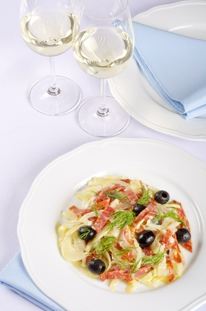 Fennel and Salami Salad Served with White Wine