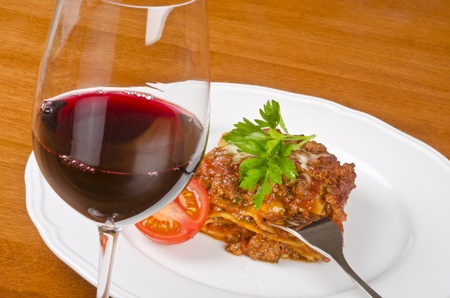 Meat Lasagna and Red Wine photo
