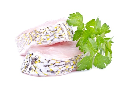 Two Raw Grouper Steaks and Italian Parsley Isolated on White Stock Photo - 17032269