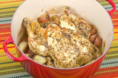 dutch: Dutch Oven Roasted Chicken with Herbs and Potatoes Stock Photo