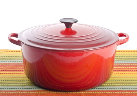dutch: Red Dutch Oven Stock Photo
