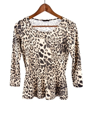 the sleeve: Women s Long Sleeve Shirt with Animal Prints Isolated on White