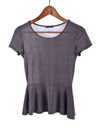 the sleeve: Women s Short Sleeve Shirt with Polka Dots Isolated on White