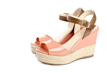 sandals isolated: Peach Colored Wedge Sandals Isolated on White