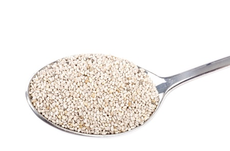 cuiller�e: Cuiller�e de graines de Chia Banque d'images