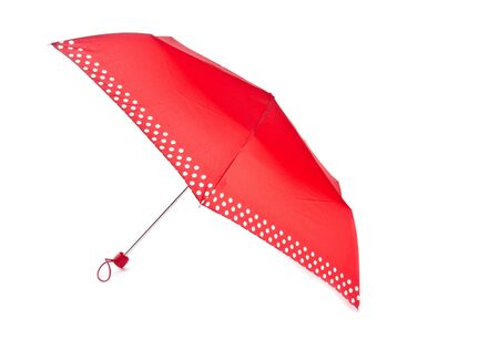 Red Umbrella with White Polka Dots Isolated