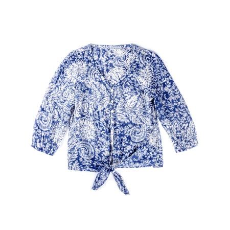 Blue Cotton Blouse Isolated on White Stock Photo