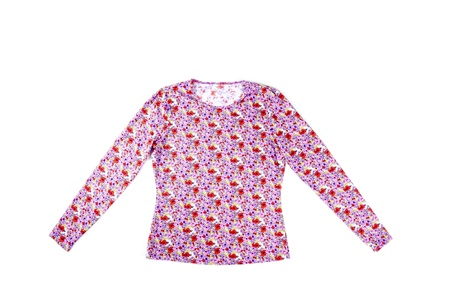 Colorful Floral Blouse Isolated on White Stock Photo